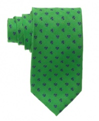 Luck is on your side when you wear this sharp shamrock-patterned tie from Club Room.