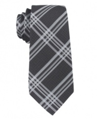 Plaid and simple. This Calvin Klein tie brings a whole new pattern to your tie collection.