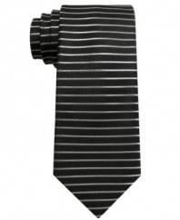 Line it up, knock it down. This striped tie from bar III conquers your dress wardrobe with unmatched cool.