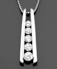 This beautiful twist on the classic journey diamond necklace features round-cut diamonds (1 ct. t.w.) set in 14k white gold. Approximate length: 18 inches. Approximate drop: 1 inch.