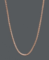 An intricate layer in trendy caramel color. This 14k rose gold chain features a wheat link design. Approximate length: 20 inches.