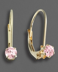 Little girls love to be pretty in pink. These leverback earrings feature round-cut pink cubic zirconia accents set in 14k yellow gold.
