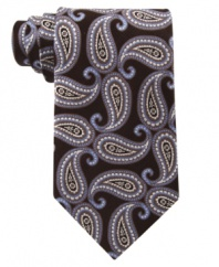 Rethink a sophisticated standard. This updated paisley silk tie by Michael Kors puts a modern twist on your at-work wardrobe.