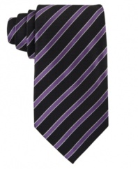 Accent any polished combination with this timeless navy stripe tie from Sean John.