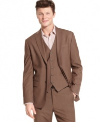 In a classic, subdued herringbone, this Perry Ellis suit jacket is a must-have for the ages.