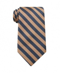 The sleek stripes on this Perry Ellis tie instantly streamlines your look for clean-cut, classic style.