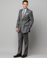 In sleek gray sharkskin, this Tommy Hilfiger suit gives your dress wardrobe an modern update.