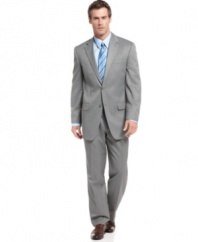 An eternally sophisticated gray suit is right at home in any wardrobe. This look from Izod is an all-around winner.