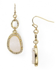 Give your wardrobe a hit of natural glamor with this pair of linear drop earrings from RJ Graziano, accented by frosted, crystal-rimmed stones.