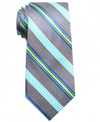 Give your stripes an energy shot. This Ben Sherman tie is an amped up palette for the office.