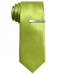 Boost your dress wardrobe with the shot of cool color on this skinny tie from Alfani RED.