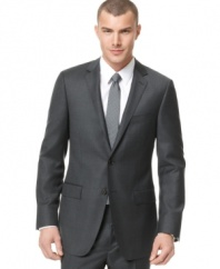 The perfect jacket. This DKNY slim-fit charcoal style gives your torso the shape it needs for a clean, streamlined look.