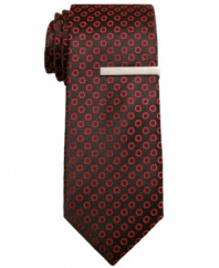 Get spotted. With a tonal dotted pattern, this Alfani RED skinny tie adds a note of texture to your dress wardrobe.