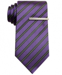 In a clean, classic stripe, this tie from Alfani adds a bright note to any dark suit.